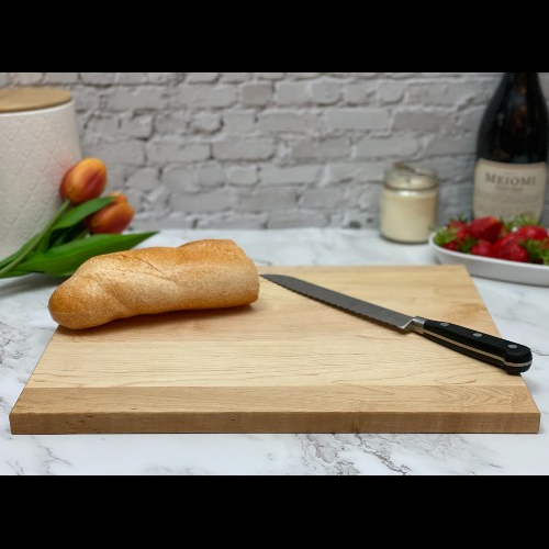 Rectangular cutting board to show shape and thickness.