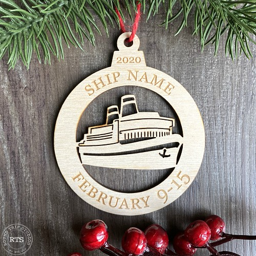 Personalized cruise ship ornament to celebrate a cruise vacation.