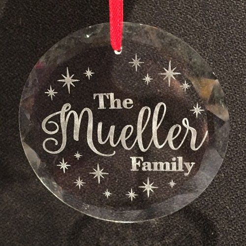 Holiday ornament with family name engraved.