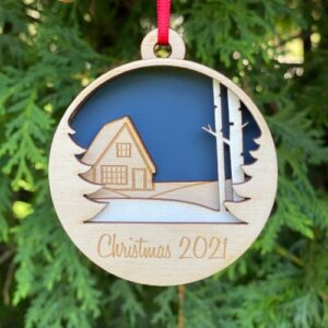 New home Christmas ornament made from layers of birch wood and engraved with your message.